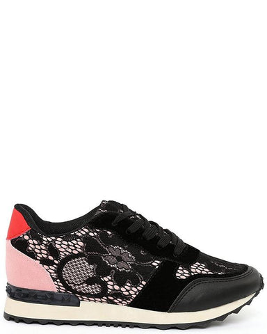 Black Pink Lace Trainers - Jezzelle