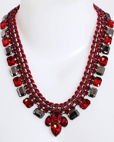 Red Woven Chain Necklace-Jezzelle