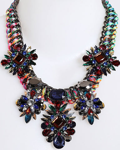 Multicolour Thread Woven Chain Necklace-Jezzelle