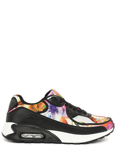 Multicolour Print Black Trainers-Jezzelle