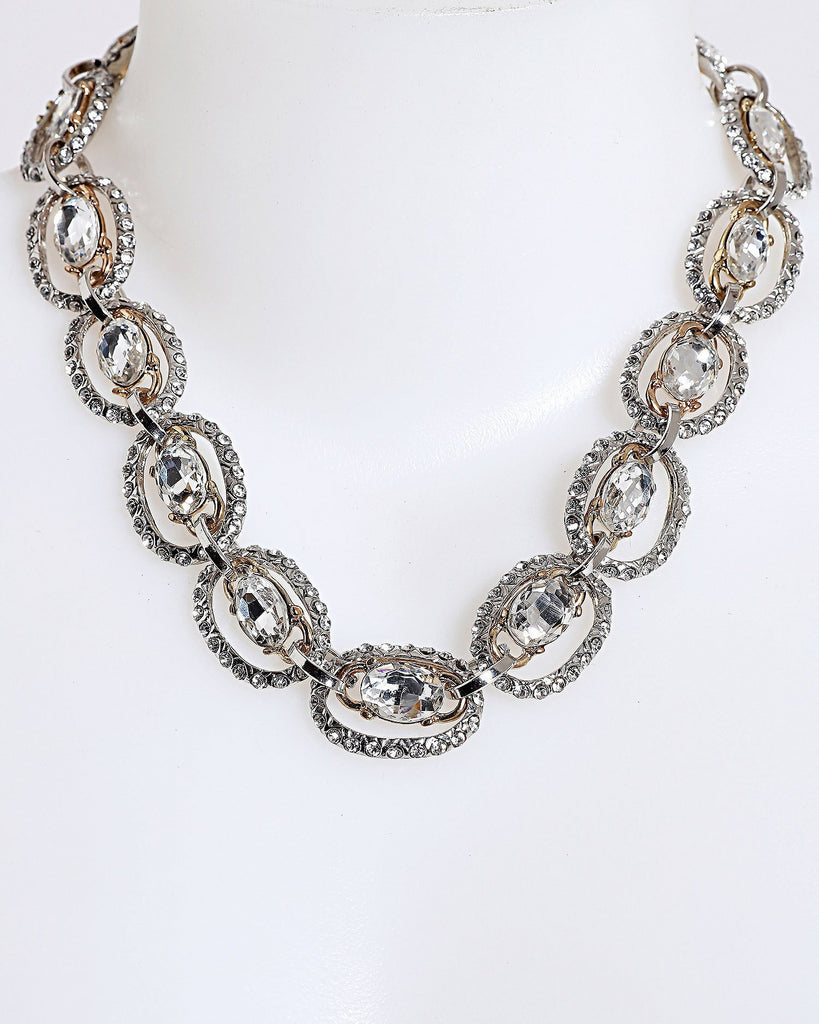 Encrusted Links Chain Necklace-Jezzelle