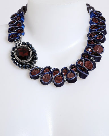 Blue and Red Vintage Collar Necklace - Jezzelle