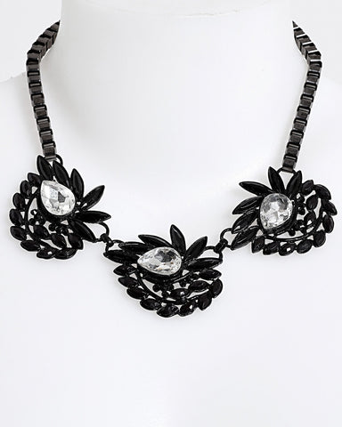 Black Metal Teardrop Necklace - Jezzelle