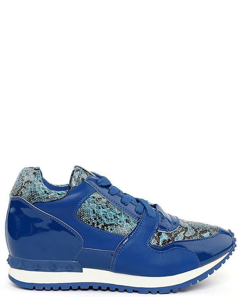 Snake Print Blue Trainers - Jezzelle