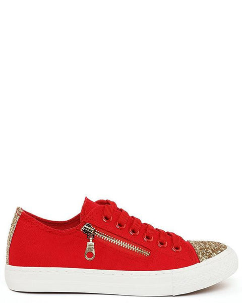 Glitter Zip Up Red Trainers - Jezzelle