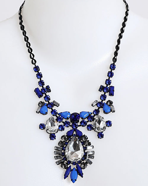 Black Metal Blue Crystals Necklace - Jezzelle