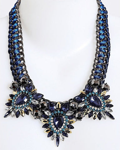 Blue Woven Chain Necklace - Jezzelle