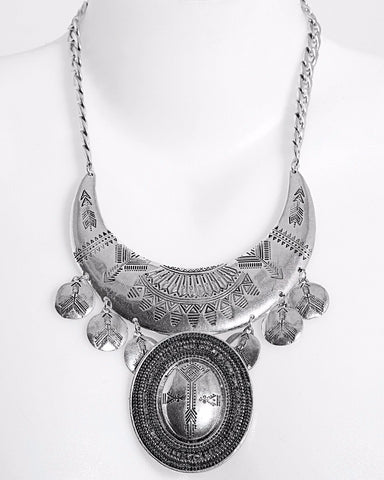 Aztec Chunky Metal Necklace-Jezzelle