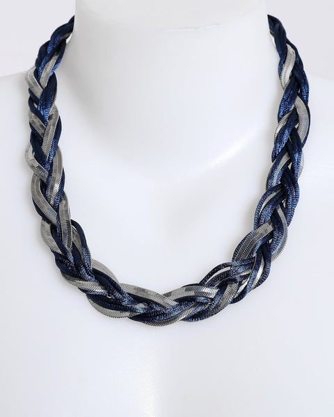 Woven Thread and Chain Necklace-Jezzelle