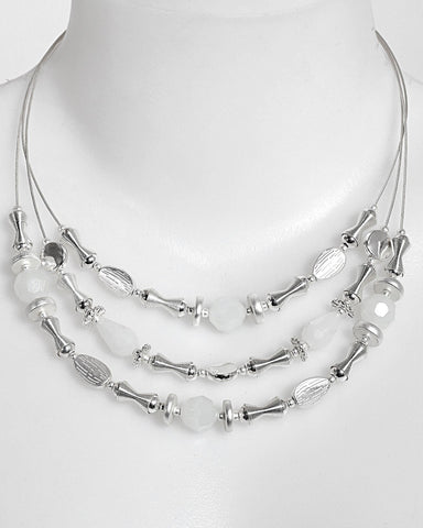 White Metal Layered Choker Necklace-Jezzelle