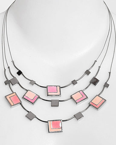 Square Enamel Details Layered Necklace - Jezzelle