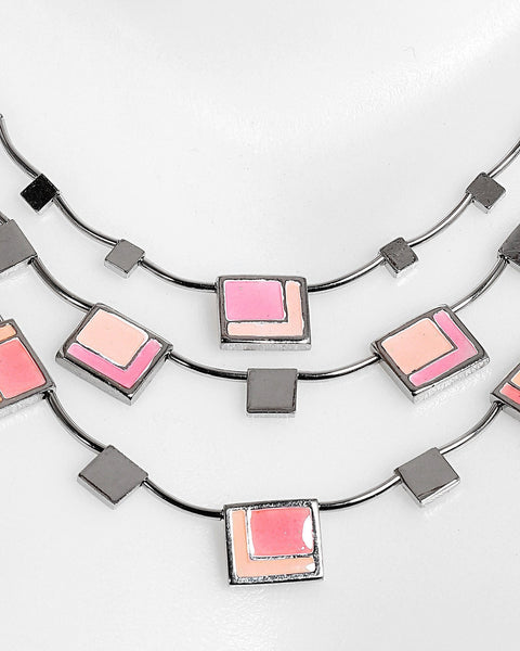 Square Enamel Details Layered Necklace-Jezzelle