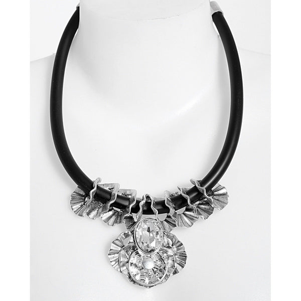 Metal Flower and Crystal Necklace-Jezzelle