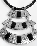 Hammered Metal Details Necklace-Jezzelle