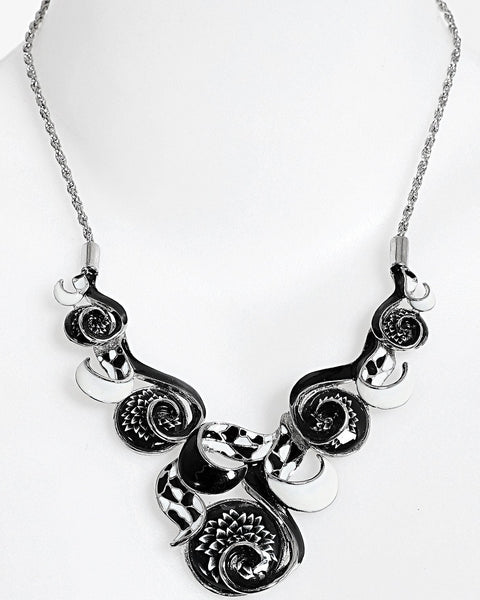 Black and White Enamel Necklace - Jezzelle