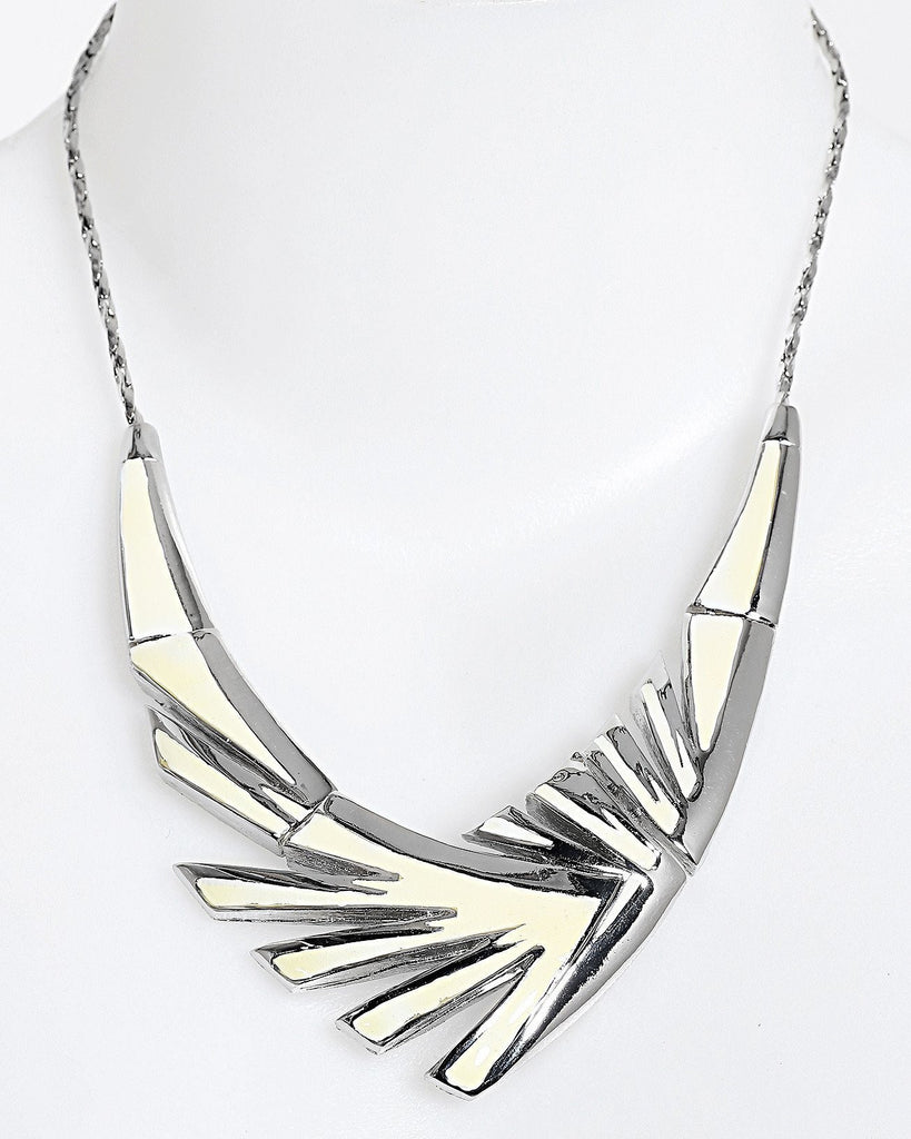 Enamel Metal Wing Necklace-Jezzelle