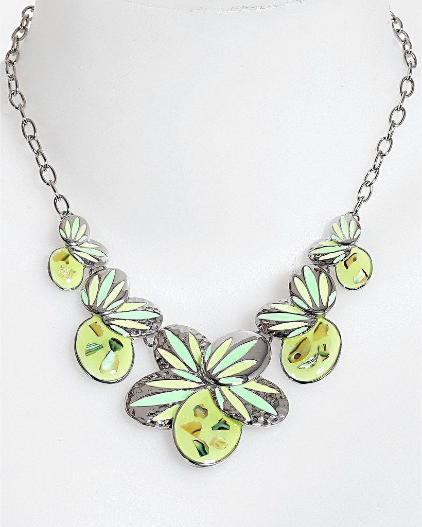 Green Enamel Flower Necklace-Jezzelle