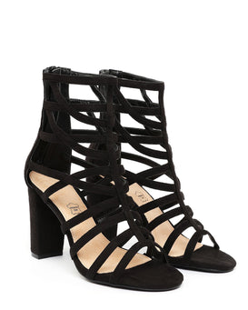 Block Heel Caged Sandals - Jezzelle