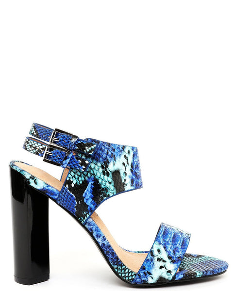Black Heel Blue Python Sandals - Jezzelle