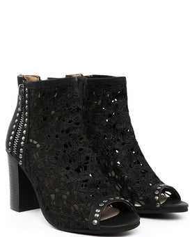 Block Heel Studded Lace Booties - Jezzelle