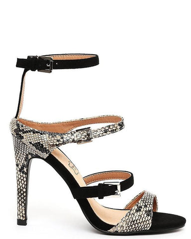 Python Print & Suede Strappy Heeled Sandals