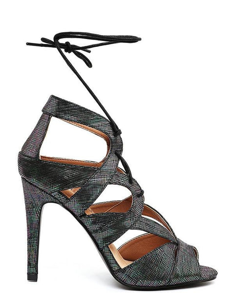 Textured Holographic Lace Up Sandals-Jezzelle
