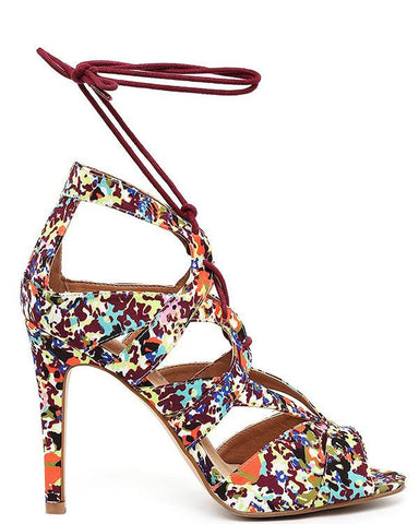 Floral Lace Up Sandals - Jezzelle