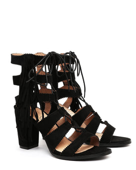 Black Suede Lace Up Block Heel Sandals - Jezzelle