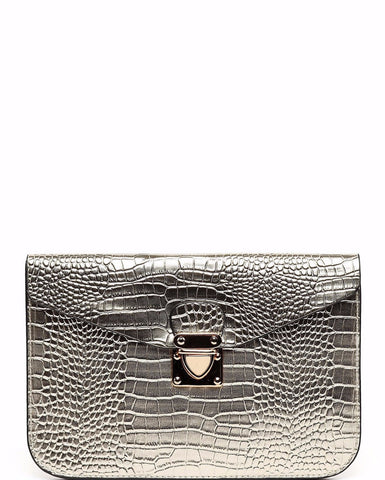Croc Effect Gold Clutch
