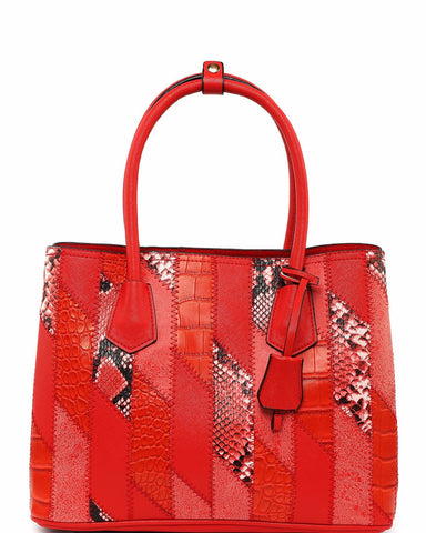 Mixed Reptile Print Patchwork Red Tote Bag