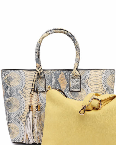 Python Print 2-in-1 Tote Bag-Jezzelle