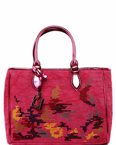 Embroidered Large Pink Shopper Bag - Jezzelle