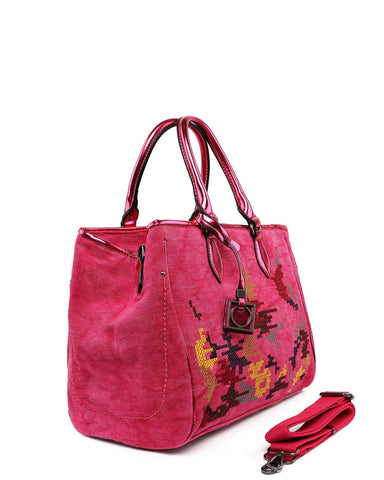 Embroidered Large Pink Shopper Bag-Jezzelle