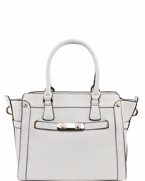 Lock Strap White Tote Bag - jezzelle  - 1