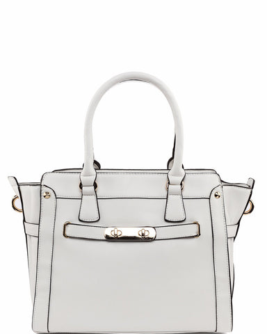 Lock Strap White Tote Bag - Jezzelle