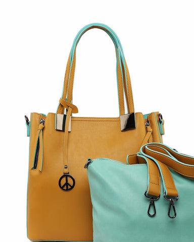 Contrast Piping 2-in-1 Tote Bag-Jezzelle