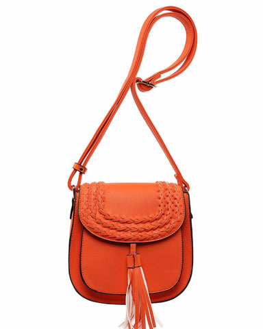 Orange Braided Shoulder Bag-Jezzelle