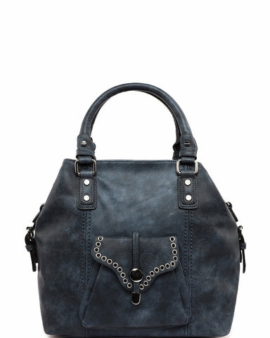 Eyelets Details Large Blue Business Bag - Jezzelle