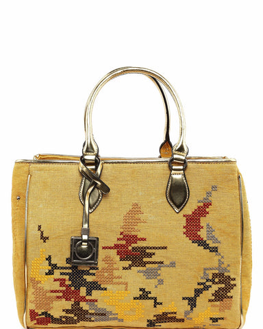 Embroidered Large Yellow Shopper Bag