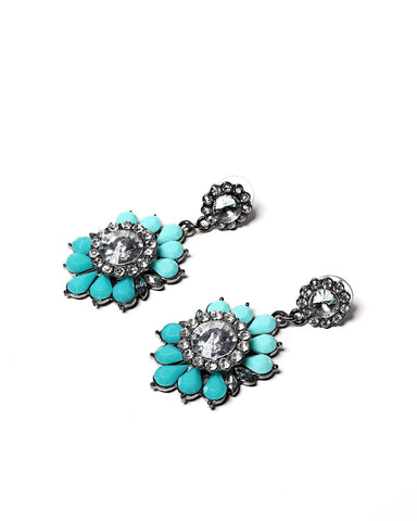 Turquoise Bejewelled Drop Earrings-Jezzelle