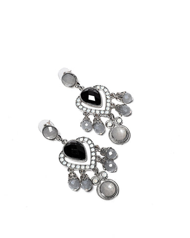 Grey Chandelier Stud Earrings-Jezzelle