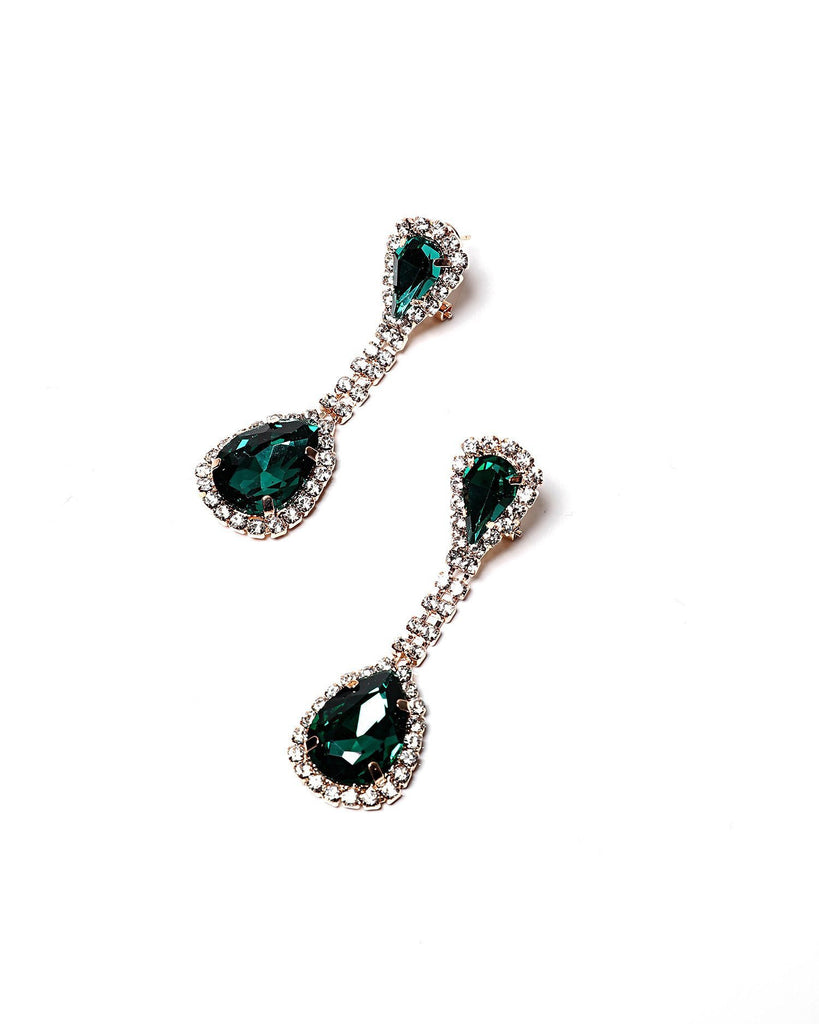 Emerald Teardrop Stud Earrings-Jezzelle