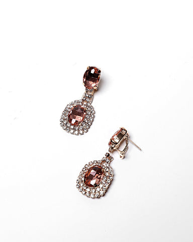 Encrusted Oval Rose Drop Earrings - Jezzelle