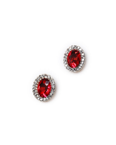 Red Cluster Stud Earrings - Jezzelle