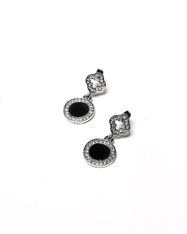 Encrusted Black Disc Earrings - Jezzelle