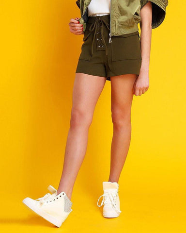 Laced Up Khaki Shorts-Jezzelle