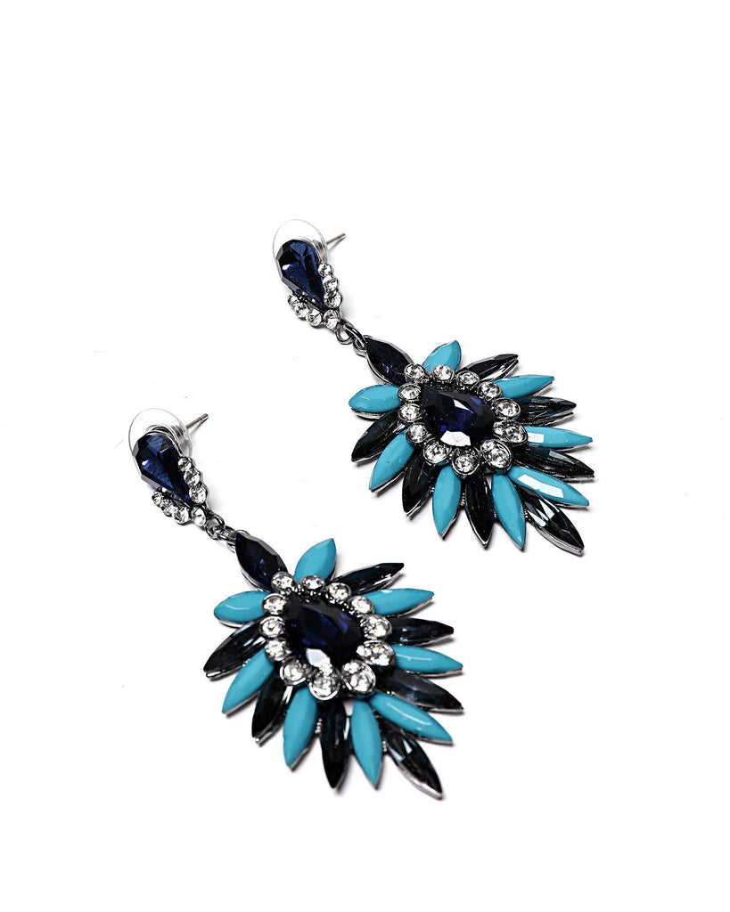 Navy and Light Blue Encrusted Earrings-Jezzelle