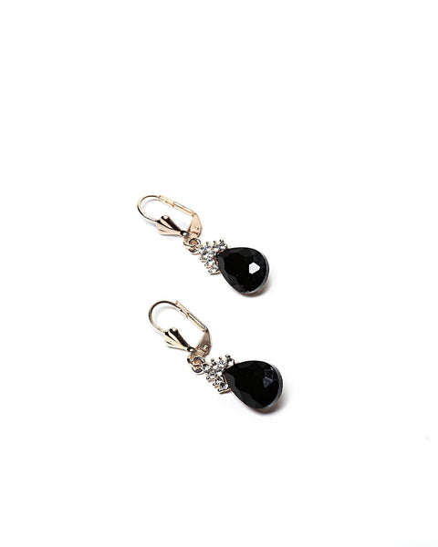 Black Teardrop Earrings - Jezzelle