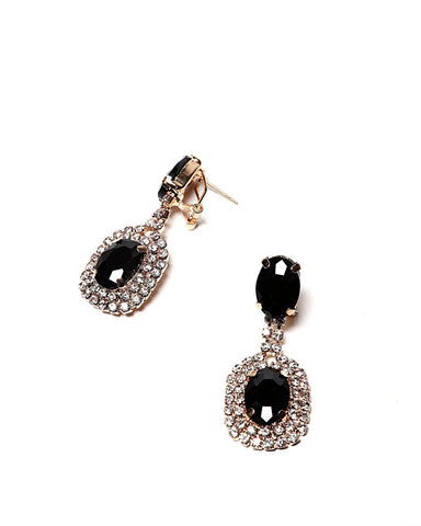 Encrusted Oval Black Drop Earrings-Jezzelle