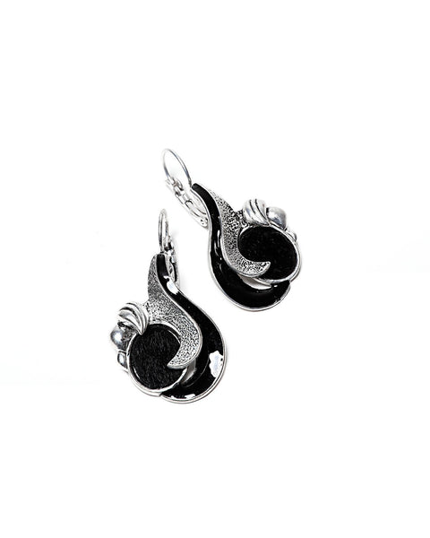 Black Enamel Fantasy Earrings-Jezzelle